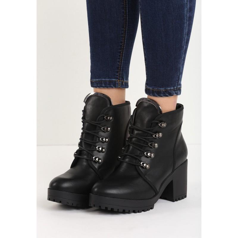 b6c8f851bed1 Zateplené čierne dámske členkové topánky s viazaním na hrubom ...