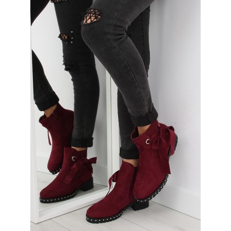 430220c20 Dámske členkové topánky v bordovej farbe s mašľou a kamienkami ...