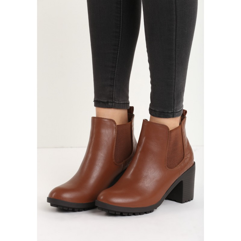 b4d3ea3788b9 Predchádzajúci. Elegantné dámske členkové topánky hnedej farby ...