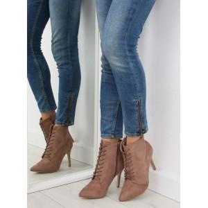 Béžové dámske členkové topánky na šnúrovanie