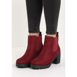Členkové bordové dámske topánky na hrubom podpätku