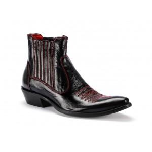 Čierne pánske kožené kovbojky COMODO E SANO s červeným prešívaním
