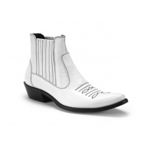Pánske kožené kovbojky COMODO E SANO v bielej farbe s čiernym prešívaním