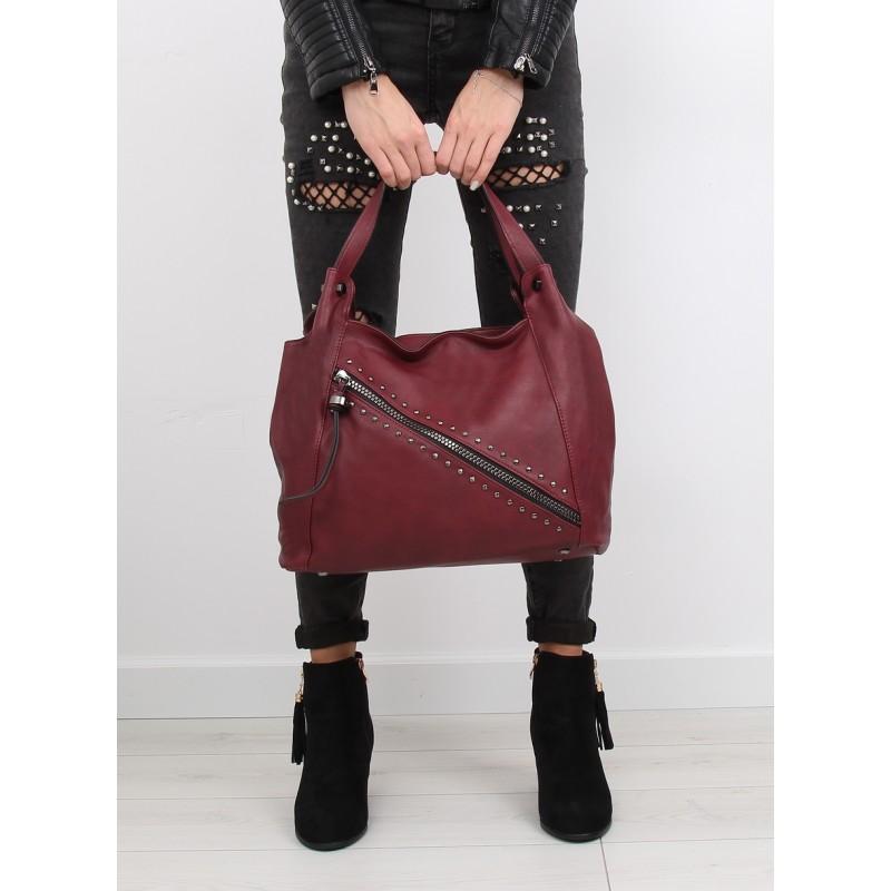 Dámske kabelky na rameno v bordovej farbe so zipsom a vybíjaním ... 35ef7305fca