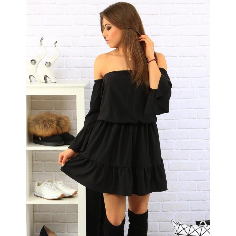 dbf7a2f2a8ad Predchádzajúci. Čierne dámske šaty s odhalenými ramenami ...