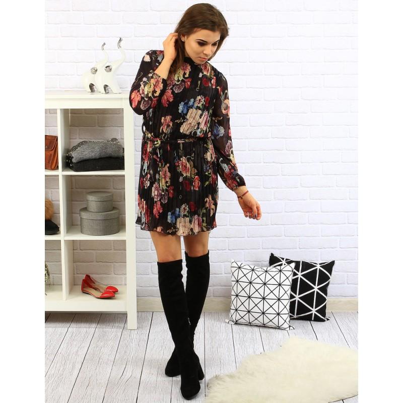 Dámske kvetované šaty na každý deň čiernej farby - fashionday.eu 485adfe73aa