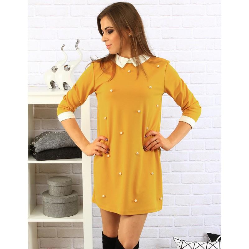 f295f4112b85 Predchádzajúci. Dámske formálne žlté šaty s bielym golierom ...
