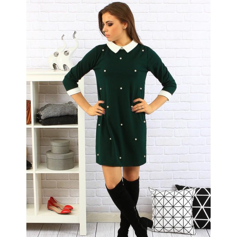c9036a0dcfe9 Tmavo zelené dámske formálne šaty s golierom - fashionday.eu