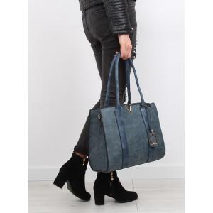Tmavo modré dámske kabelky na rameno so zlatými aplikáciami