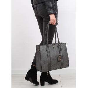 Moderná sivá dámska kabelka na rameno so zlatou ozdobou