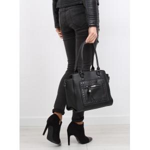Vybíjané čierne dámske kabelky na rameno s bočným zipsom