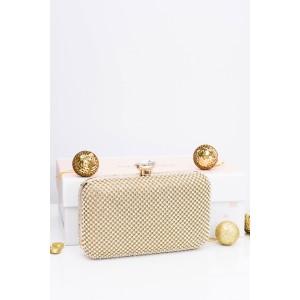 Elegantná zlatá dámska večerná kabelka s kamienkami a zlatou retiazkou