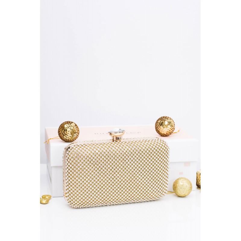 329bd4b5f Elegantná zlatá dámska večerná kabelka s kamienkami a zlatou ...
