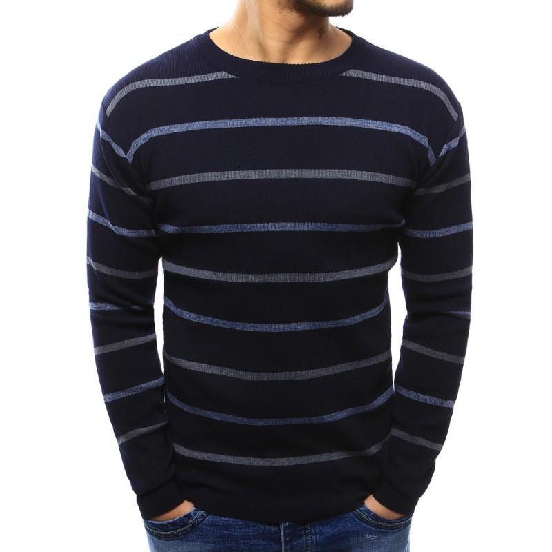 95a3c19c9793 Predchádzajúci. Pánsky moderný pruhovaný sveter na každý deň modrej farby  ...