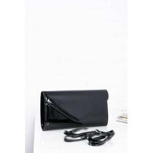 Klasická dámska lakovaná kabelka čiernej farby s nastaviteľným ramienkom