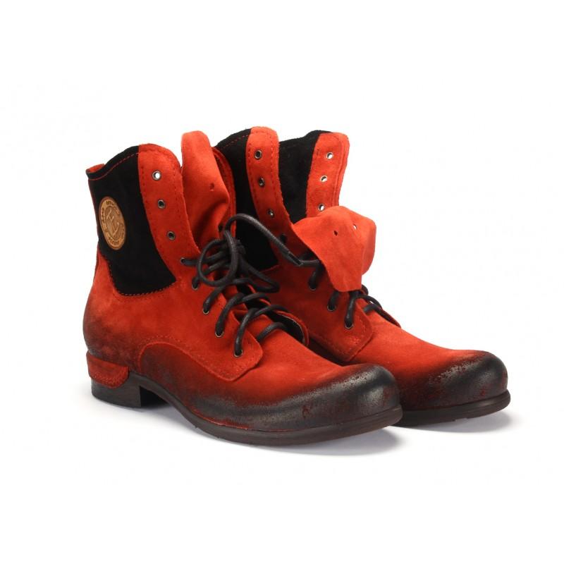 0b6ef4635d54 Červené pánske kotníkové kožené topánky COMODO E SANO so šnúrkami ...