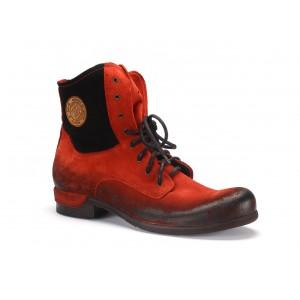 Červené pánske kotníkové kožené topánky COMODO E SANO so šnúrkami