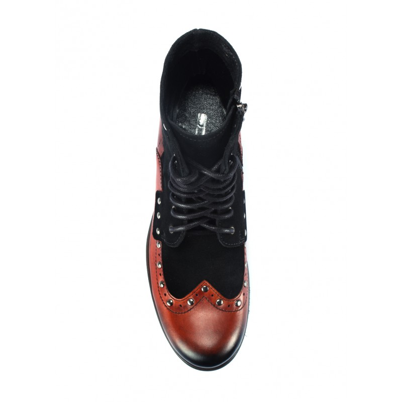 Šnurovacie pánske kožené topánky červeno čiernej farbe na nízkom ... d7778092808