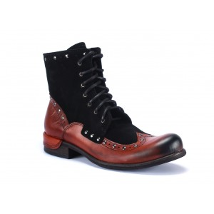Šnurovacie pánske kožené topánky červeno čiernej farbe na nízkom podpätku