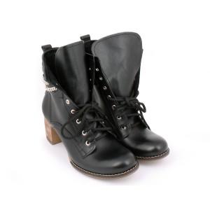 Kožené dámske topánky s vizaním na vysokom podpätku čiernej farby