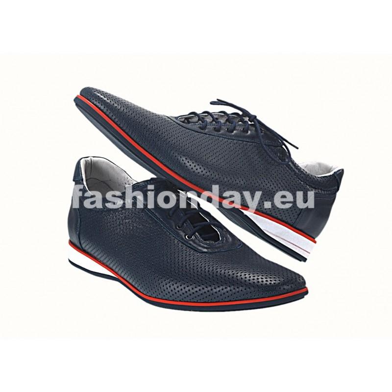 2bb9ae91e32d Pánske kožené športové topánky modré - fashionday.eu