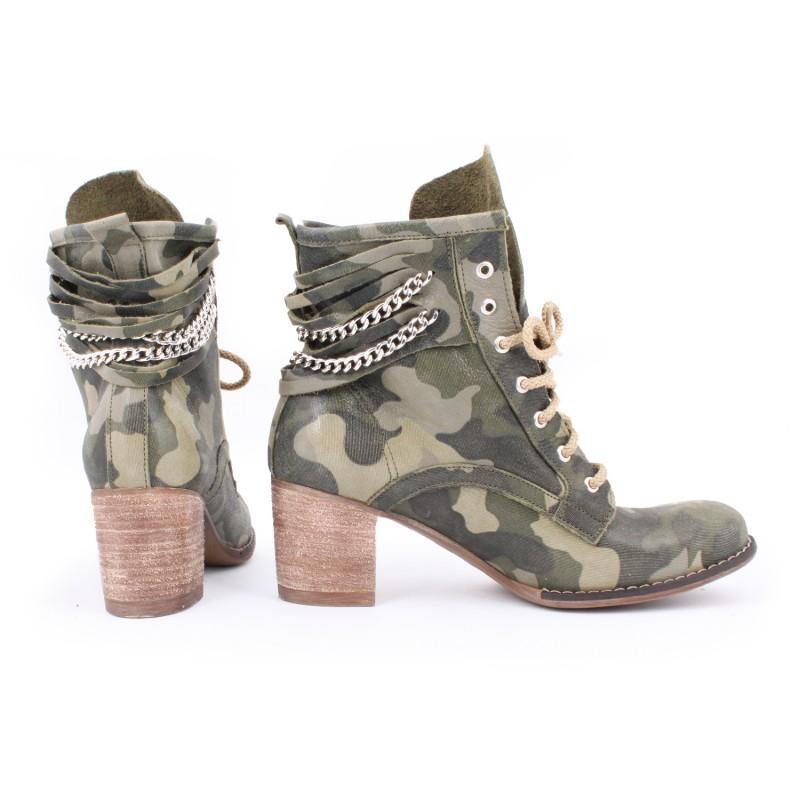 Kožené dámske topánky s maskačovým vzorom na vysokom podpätku ... 066a9450460