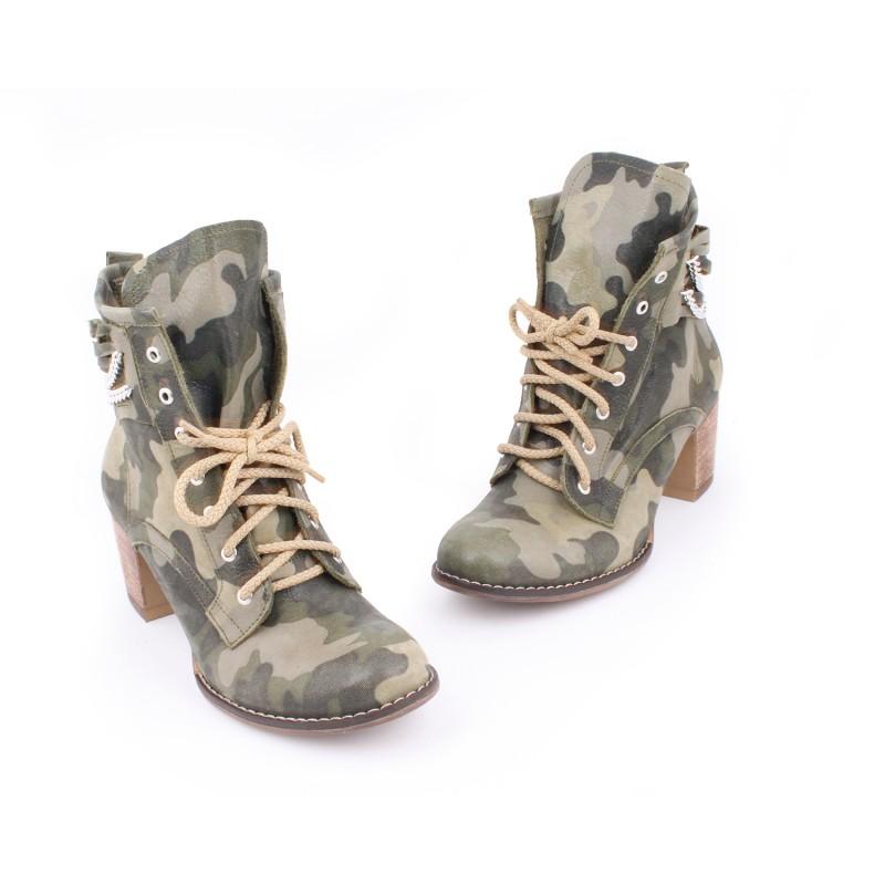 Kožené dámske topánky s maskačovým vzorom na vysokom podpätku  Kožené  dámske topánky s maskačovým ... 738031d5531