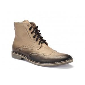Béžové pánske kožené členkové topánky na viazanie COMODO E SANO