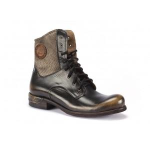 Pánske kožené vysoké topánky COMODO E SANO v čierno béžovej farbe