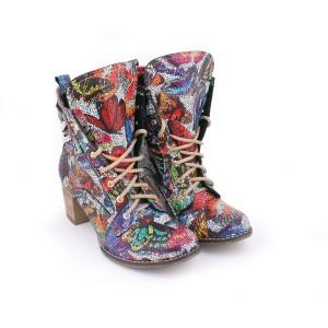 Extravagantné dámske kožené topánky na vysokom podpätku s abstraktným motívom