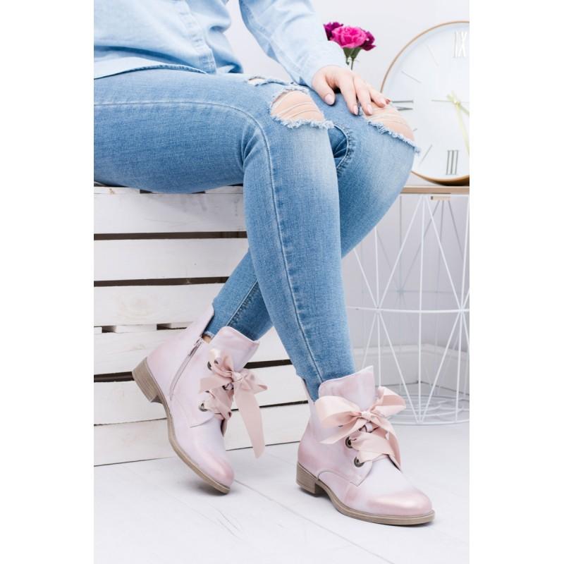 a9b8bad3a0 Predchádzajúci. Ružové dámske členkové topánky s mašľou na viazanie ...