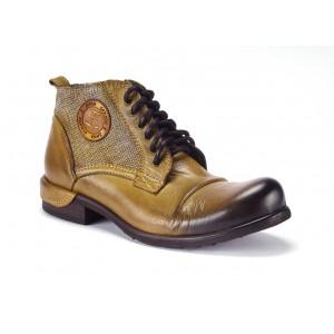 Žlté pánske kožené topánky COMODO E SANO na šnurovanie