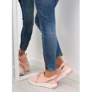 Ružová dámska športová obuv so šnúrkami a hrubou podrážkou