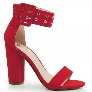 Červené dámske sandále na hrubom podpätku so širokým remienkom