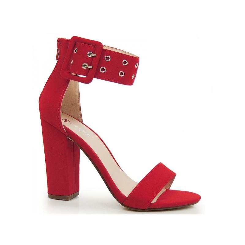 f6f5265d19 Červené dámske sandále na hrubom podpätku so širokým remienkom ...