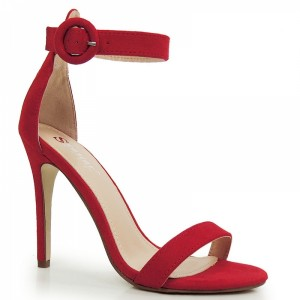 Spoločenské dámske sandále na vysokom podpätku v červenej farbe