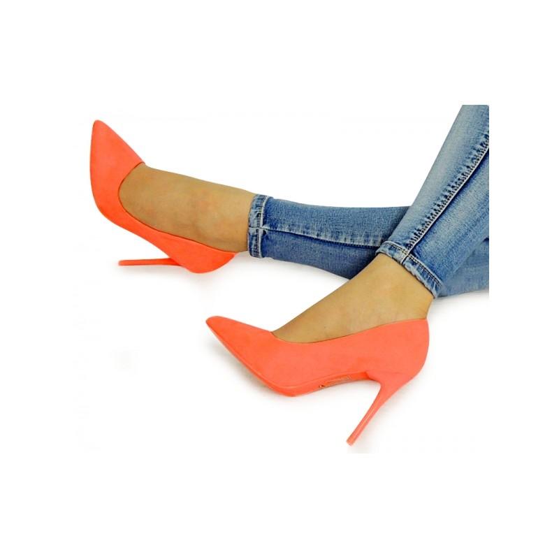 9c9e26196258 Neónové dámske moderné lodičky v oranžovej farbe - fashionday.eu