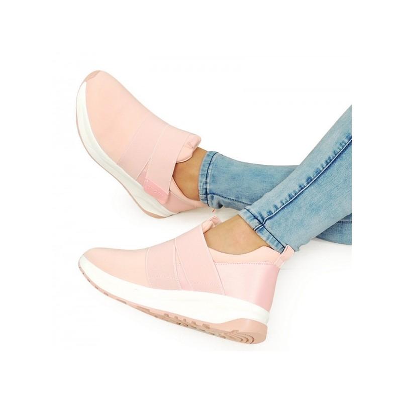 Ružové dámske športové topánky na každý deň so suchým zipsom ... 96ab5ad6fed