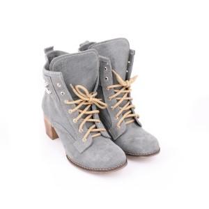 Dámske kožené topánky na viazanie sivej farby na vysokom podpätku