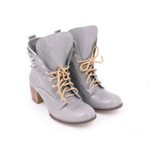 Kožené dámske topánky s retiazkami na vysokom podpätku na viazanie