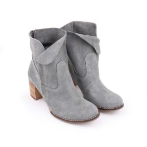 Dámske kožené členkové topánky na vysokom podpätku na zips