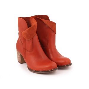 Dámske kožené topánky na podpätku hnedej farby