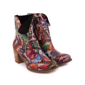 Moderné farebné dámske kožené topánky na zips s opätkom