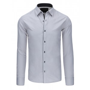 Moderná pánska košeľa sivej farby s čiernym lemovaním