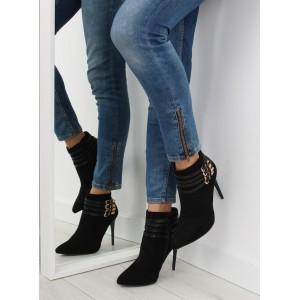 Čierne semišové dámske topánky na vysokom podpätku so zlatými prackami