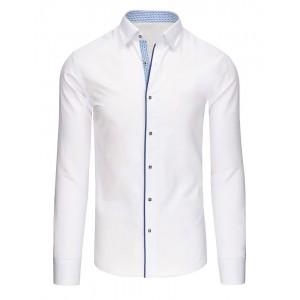 Elegantné biele pánske košele s modrým lemovaním