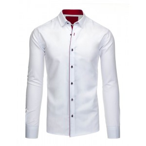 Bielo červená pánska slim fit košeľa s dlhým rukávom