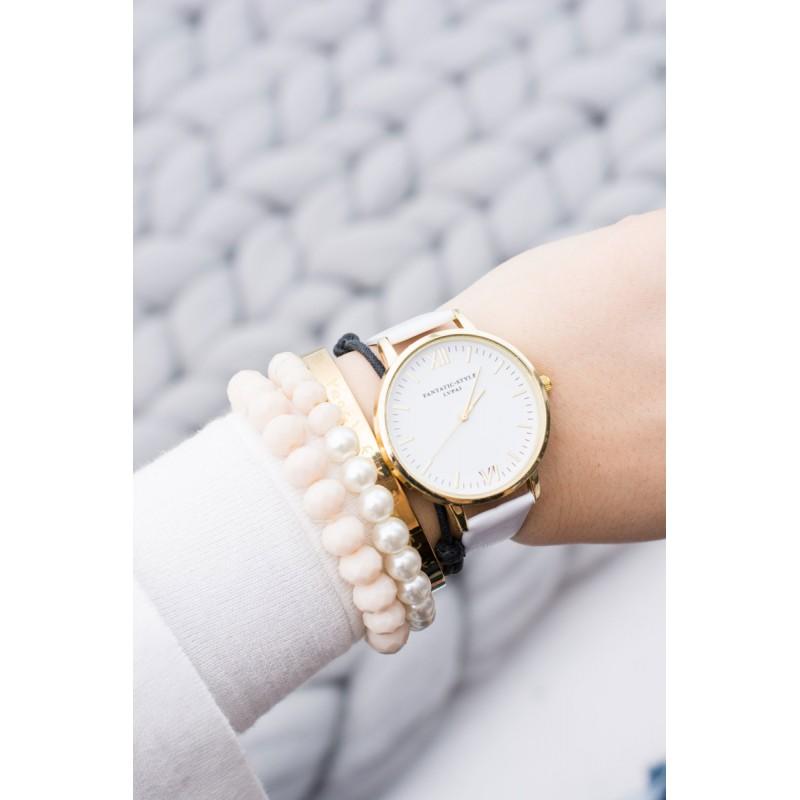 59c0613c0 Elegantné biele dámske hodinky so zlatými rímskymi číslicami ...