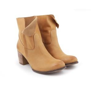 Kožené dámske topánky pieskovej farby