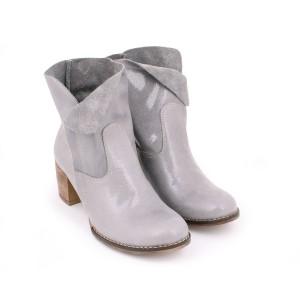 Kožené dámske lakované topánky na vysokom podpätku sivej farby